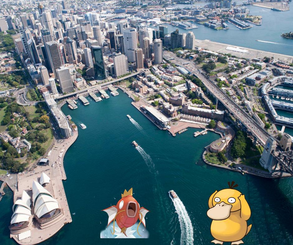 Psyduck and Magikarp at the Circular Quay in Australia