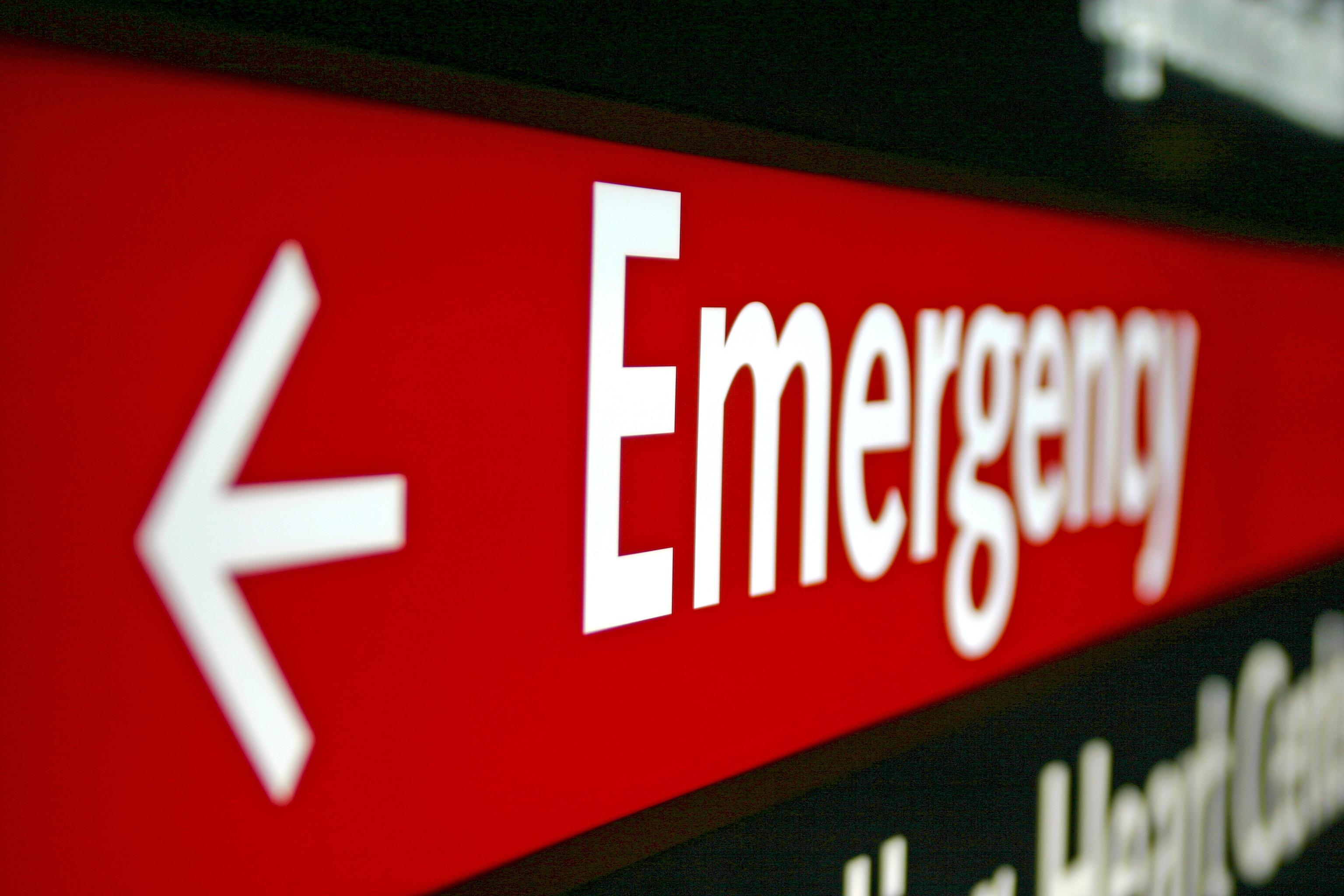 An emergency sign