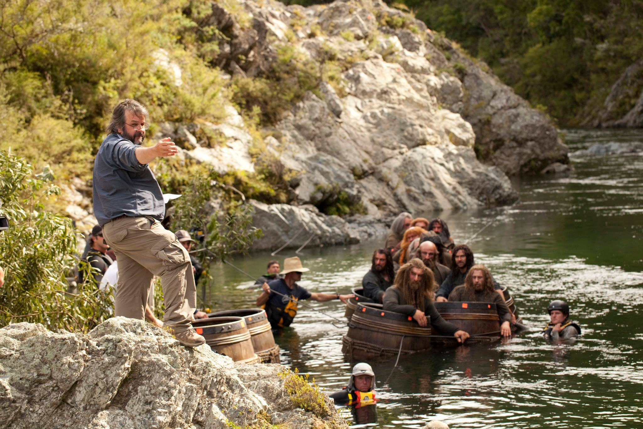 Dwarves floating on barrels scene in The Hobbit movie
