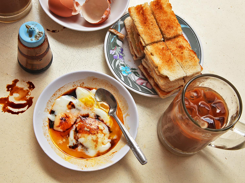 Kaya toast with eggs and Kopi