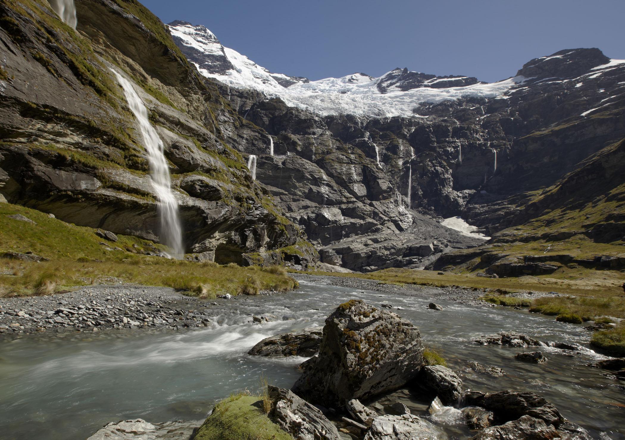 Waterfalls from the Earnslaw Burn glacier