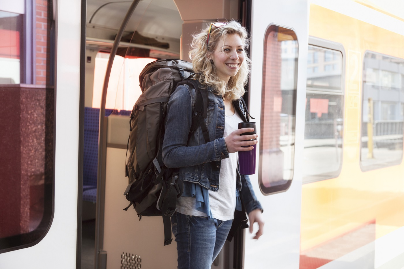 Getting off a train