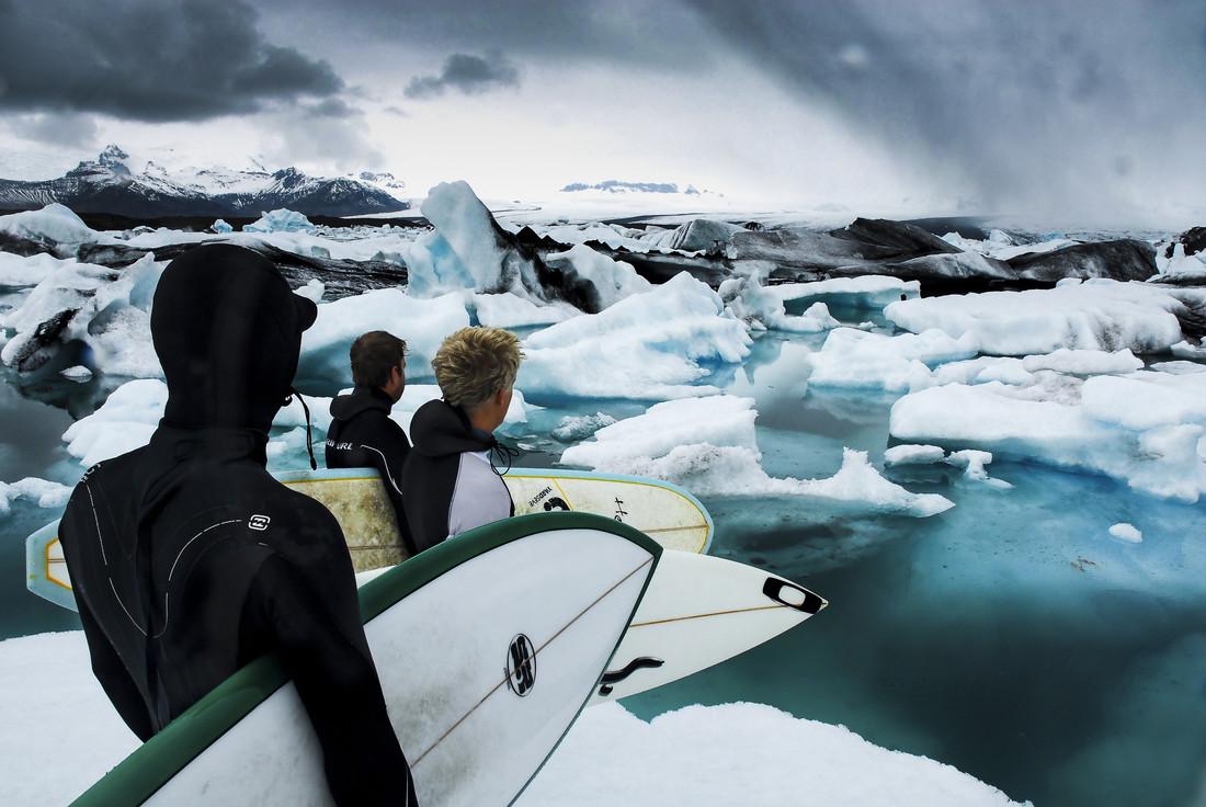 Preparing to surf in Iceland