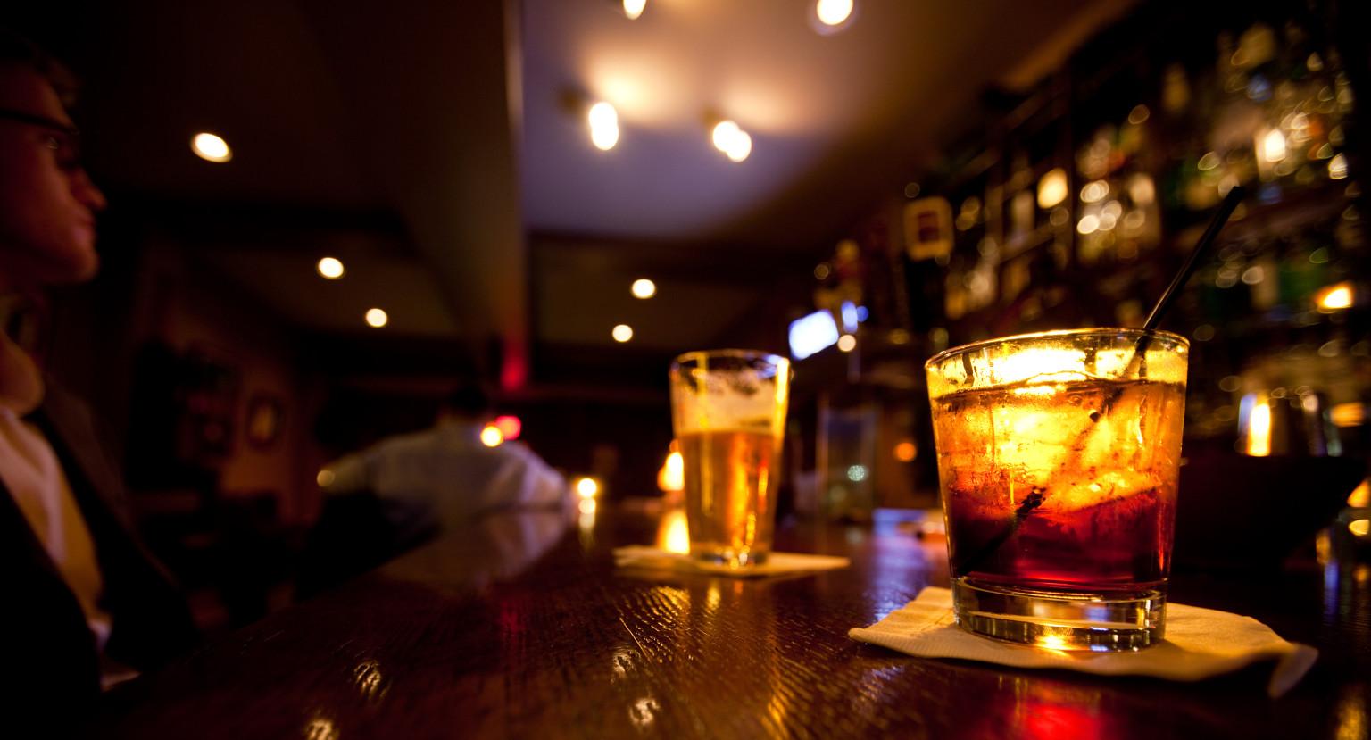 Alcohol at a bar