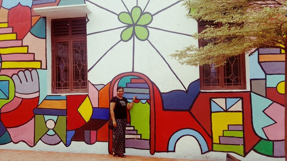 Beautifully painted walls in Melaka