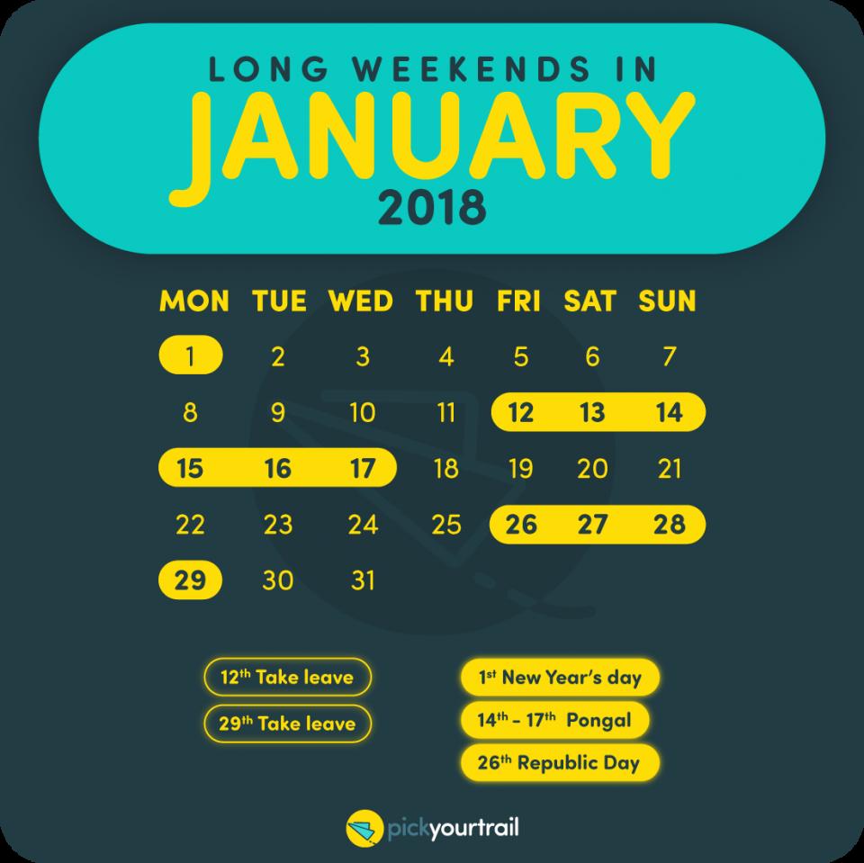 January Long Weekends in 2018