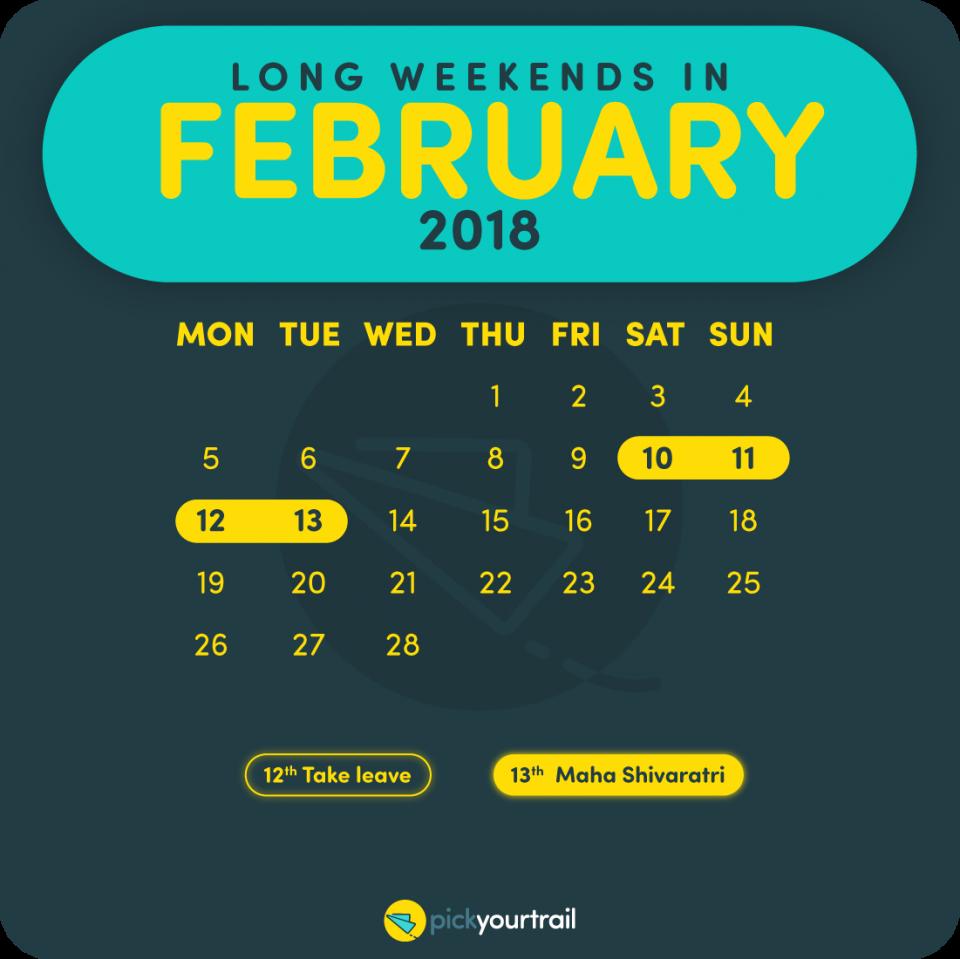 February Long Weekends in 2018
