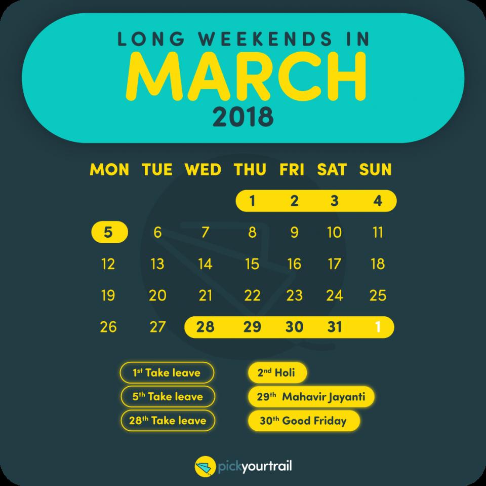 March Long Weekends in 2018