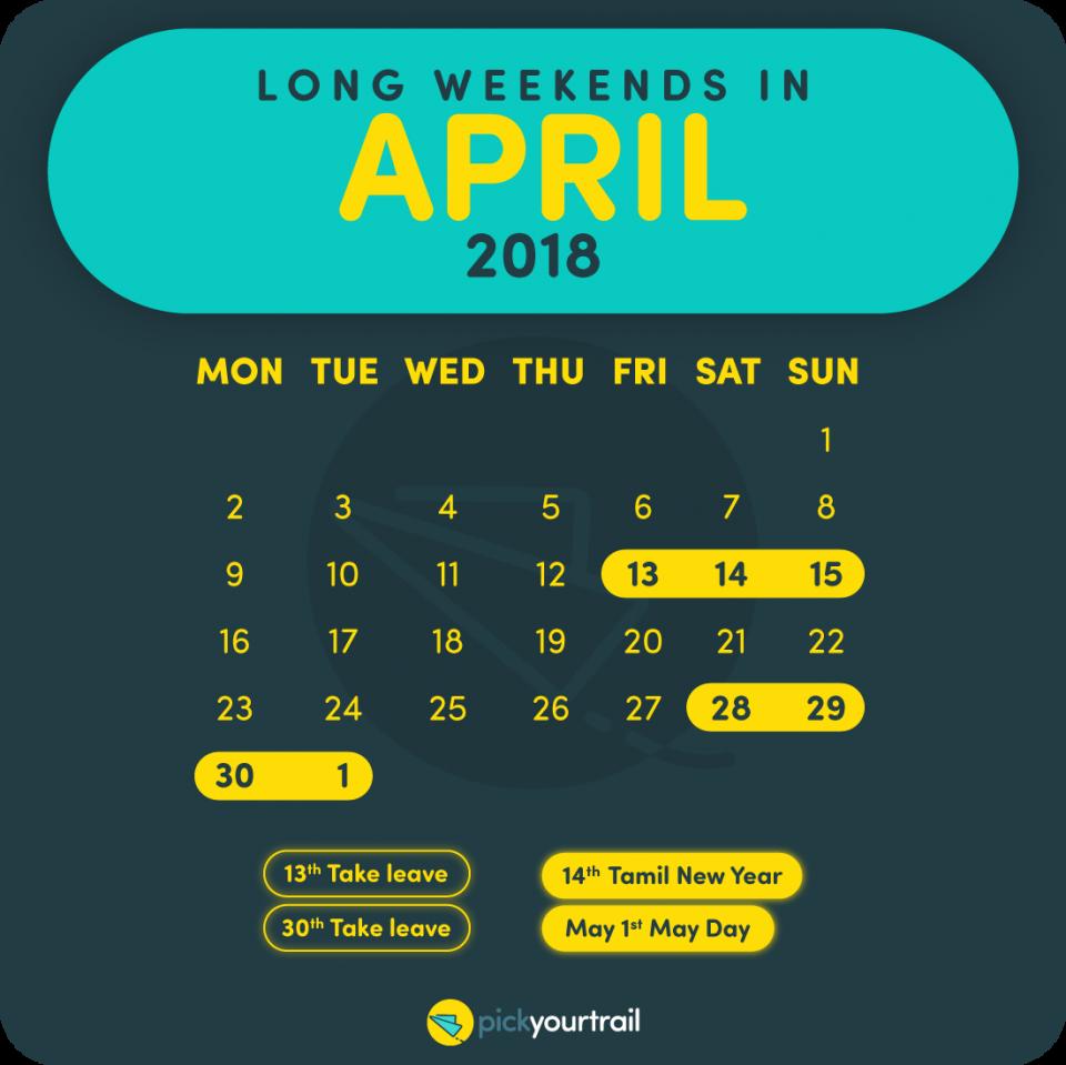 April Long Weekends in 2018