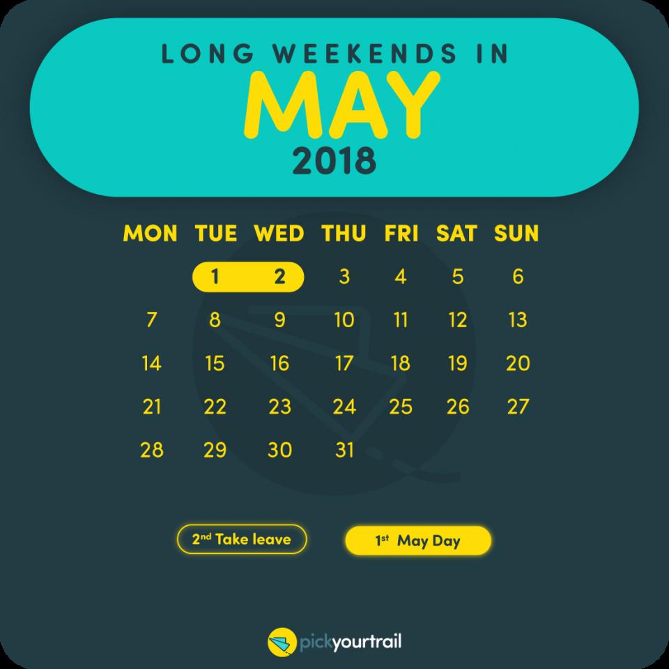 May Long Weekends in 2018