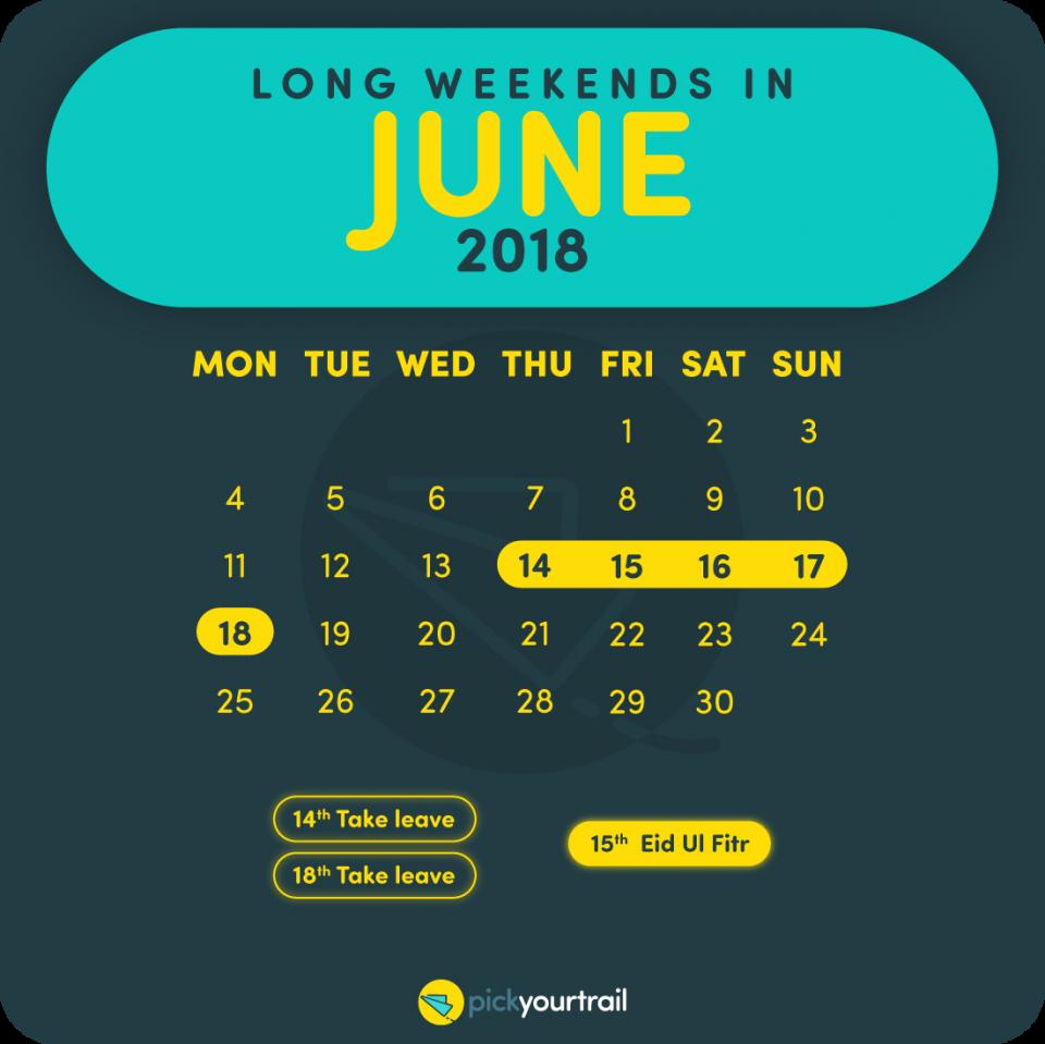 June Long Weekends in 2018