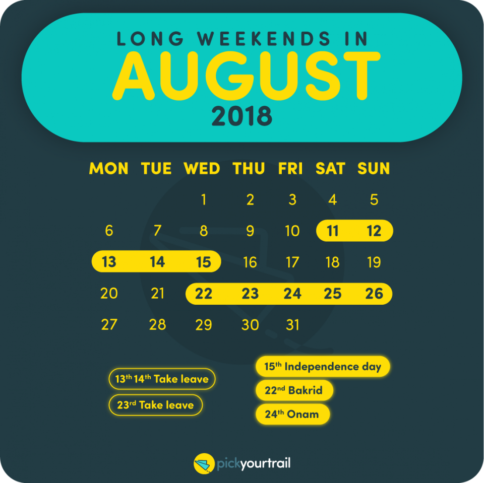 August Long Weekends in 2018