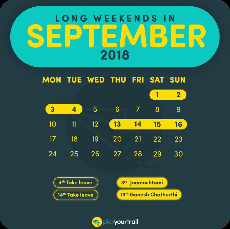 September Long Weekends in 2018