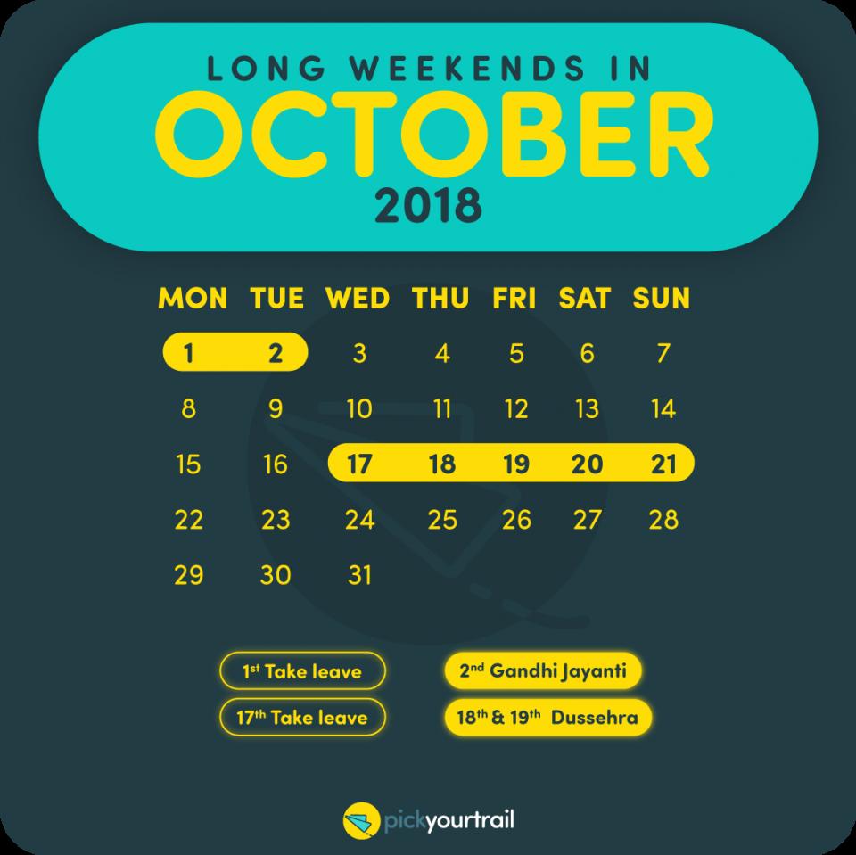 October Long Weekends in 2018