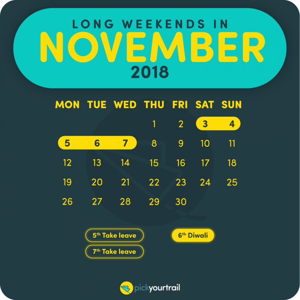 November Long Weekends in 2018
