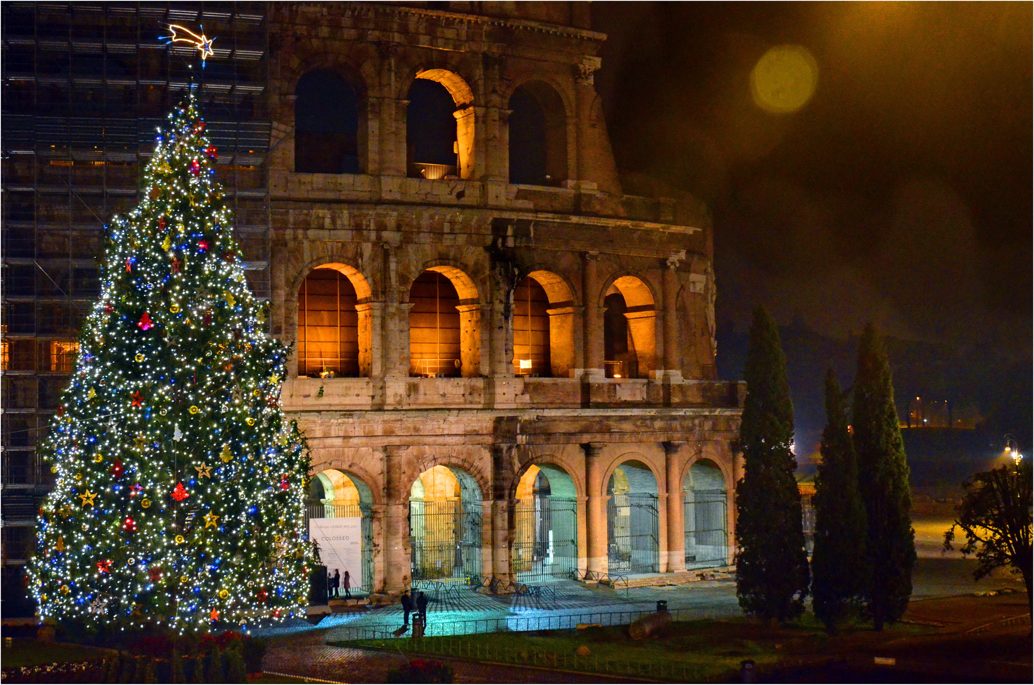 Colosseum Christmas Tree, Italy in winter
