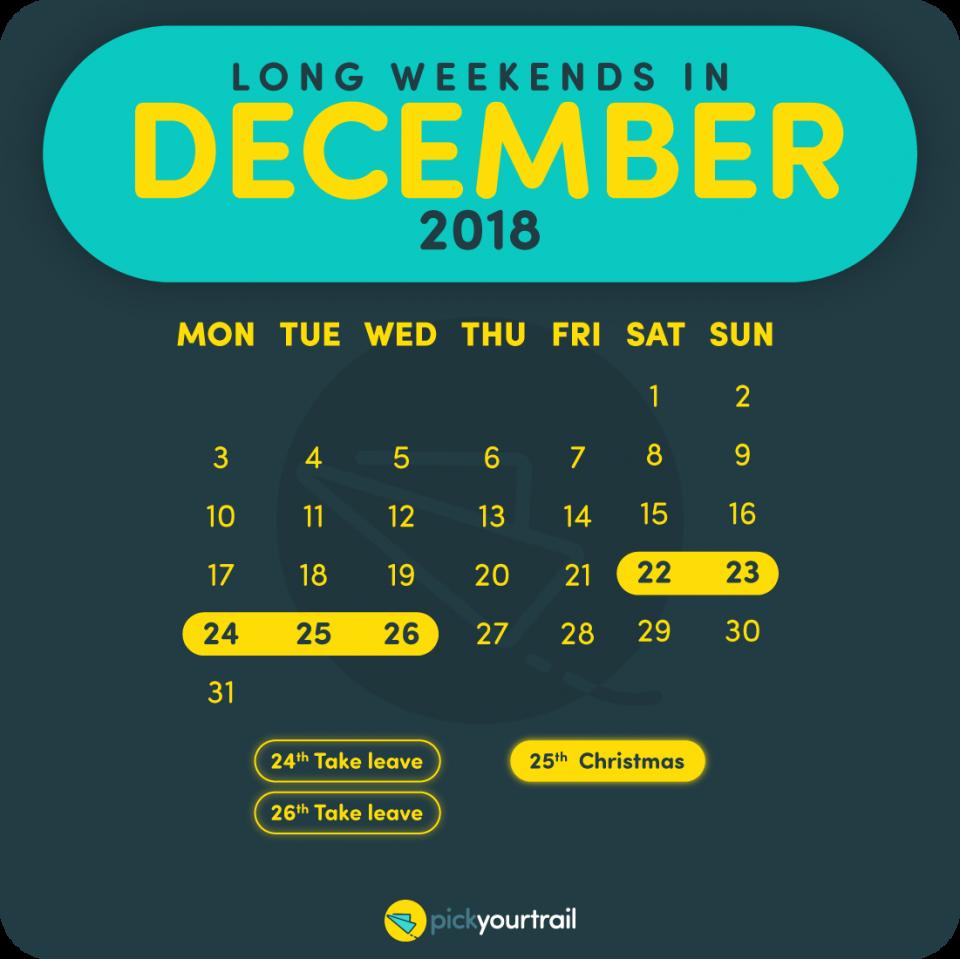 December Long Weekends in 2018
