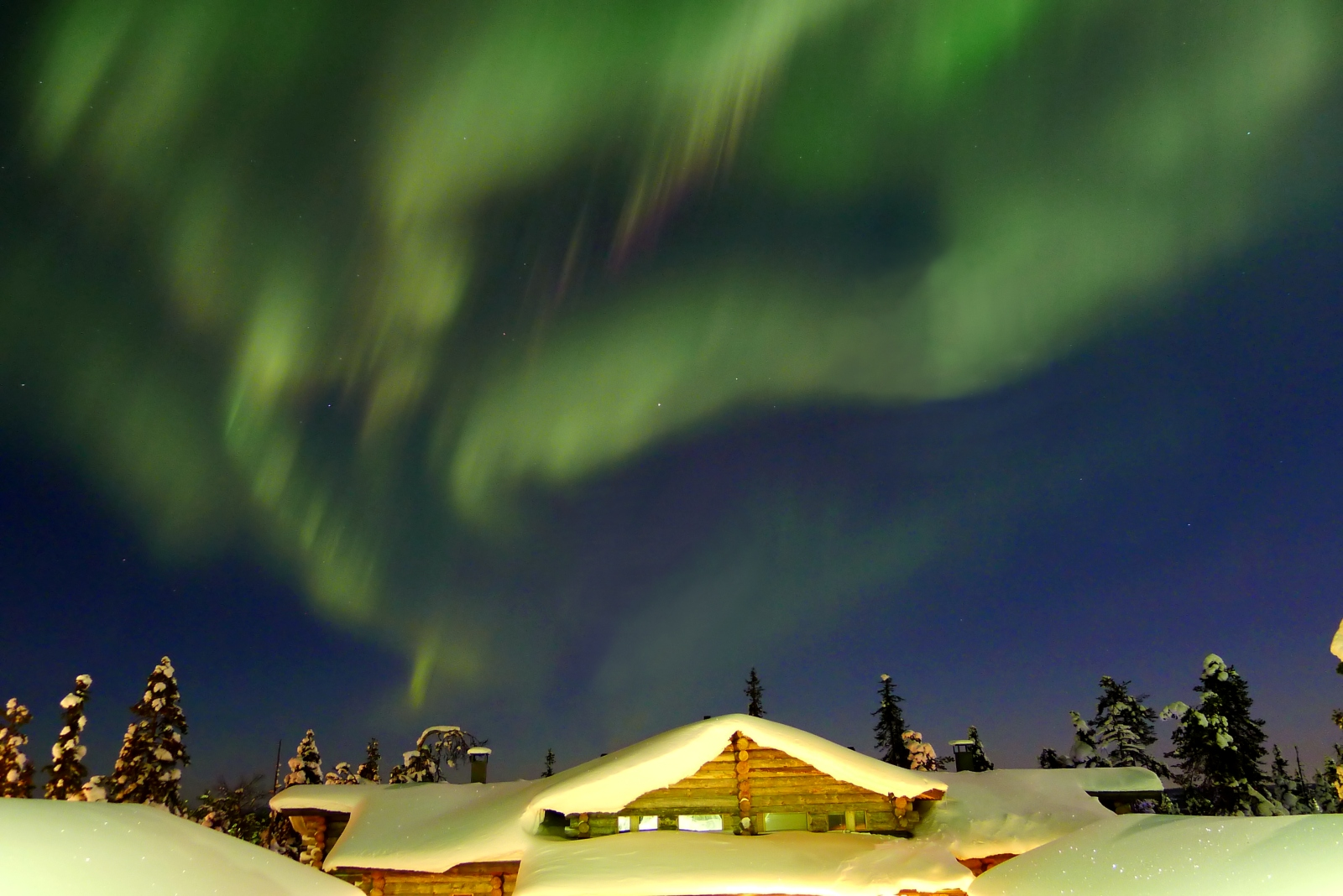 Northern lights in Finland, winter