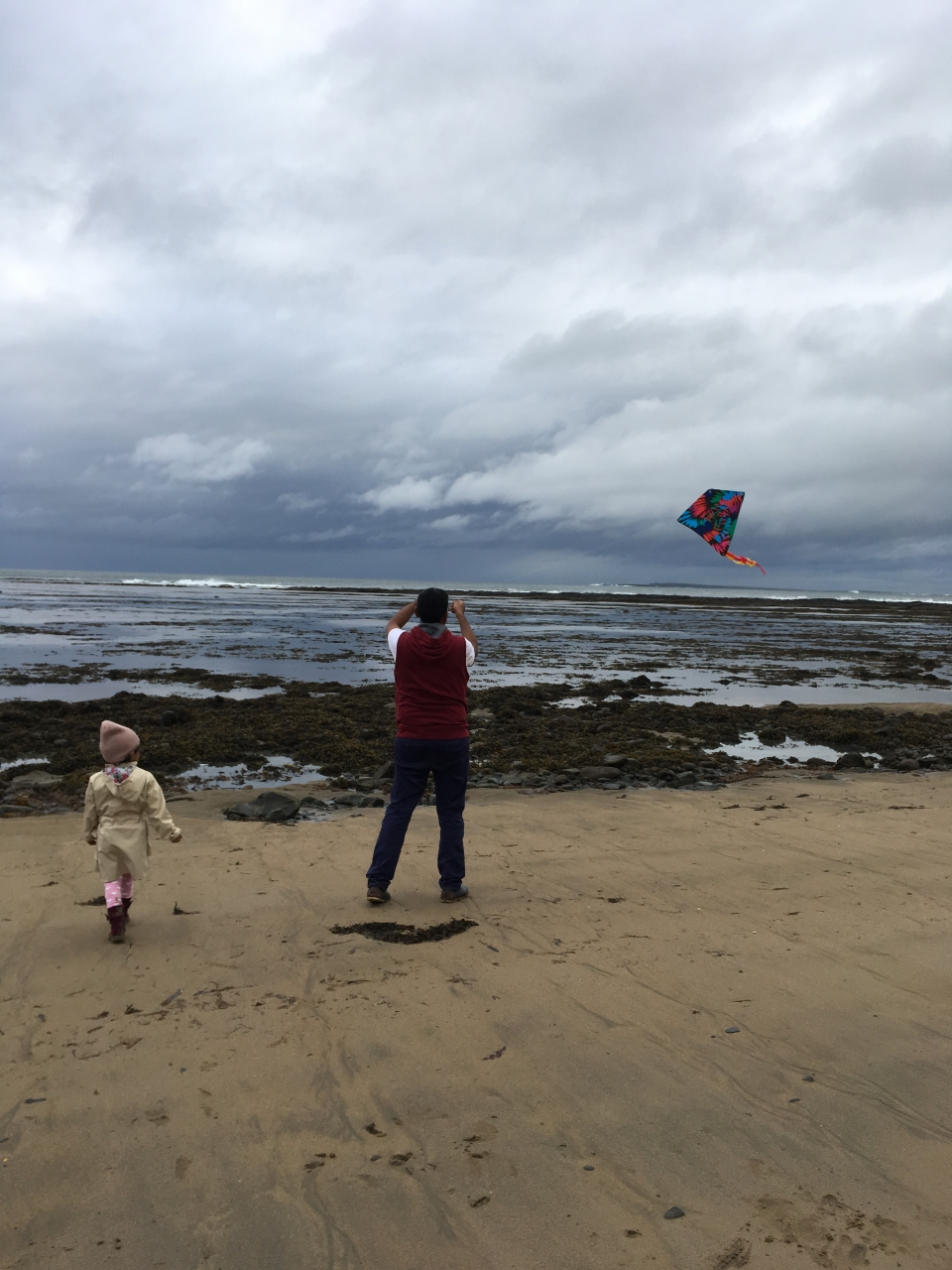 Kiteflying with kids at the beach