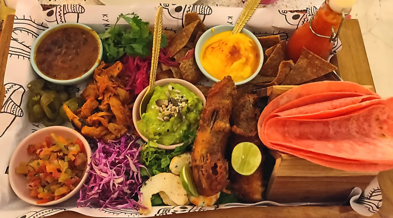 Vegan taco Mexican food at Kynd community Bali one mile at a time seminyak pickyourtrail
