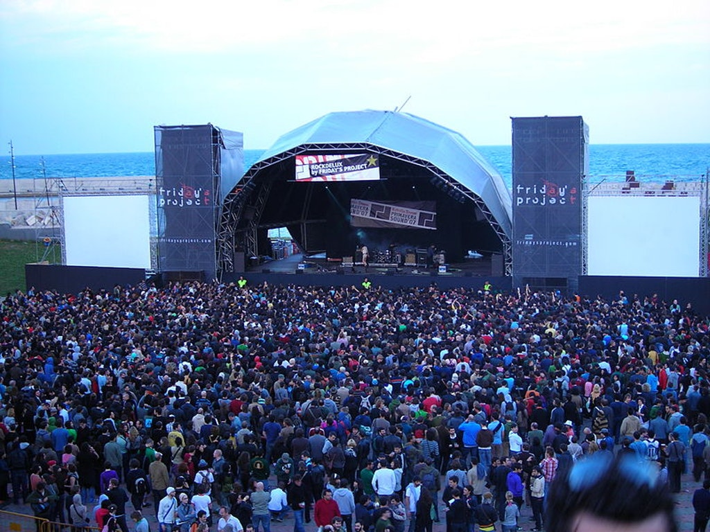 An aerial view of the Primavera music festival in Barcelona