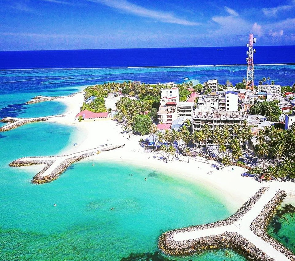 Aerial view of Maafushi Island