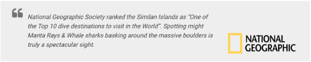 Message by National Geographic about Similan Island