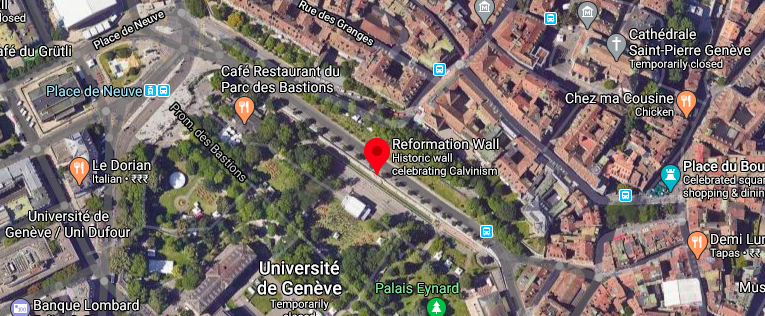 Satellite view of the Reformation wall in Geneva