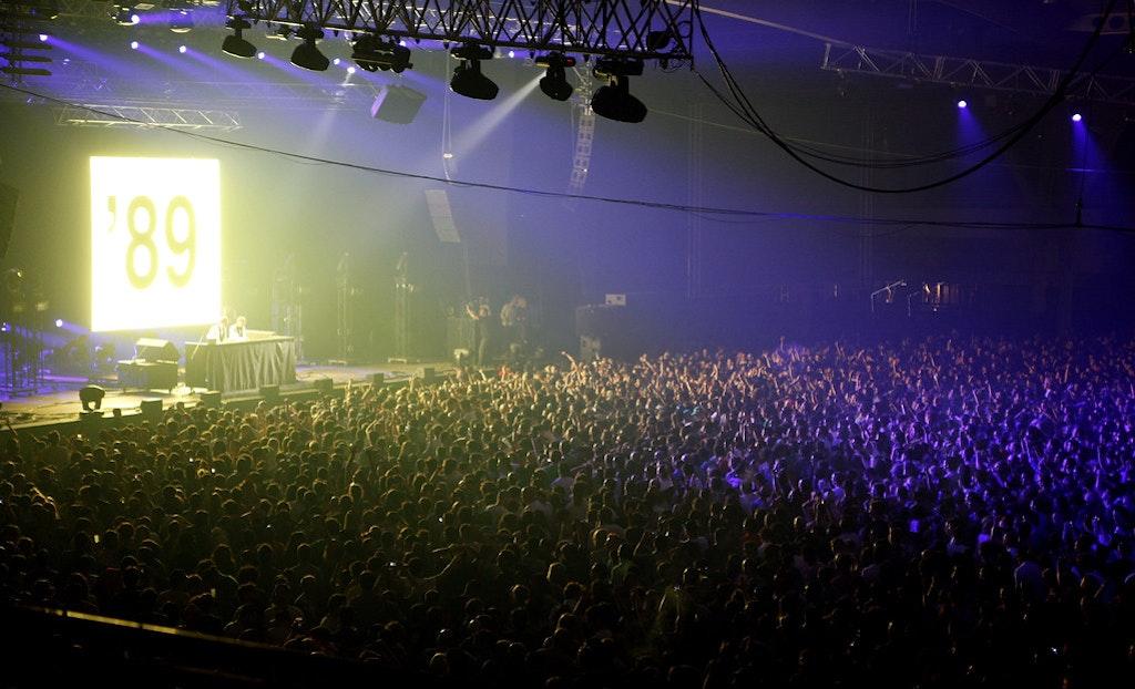 The crowd enjoying the sonar music festivals held in 2016 in Barlcelona