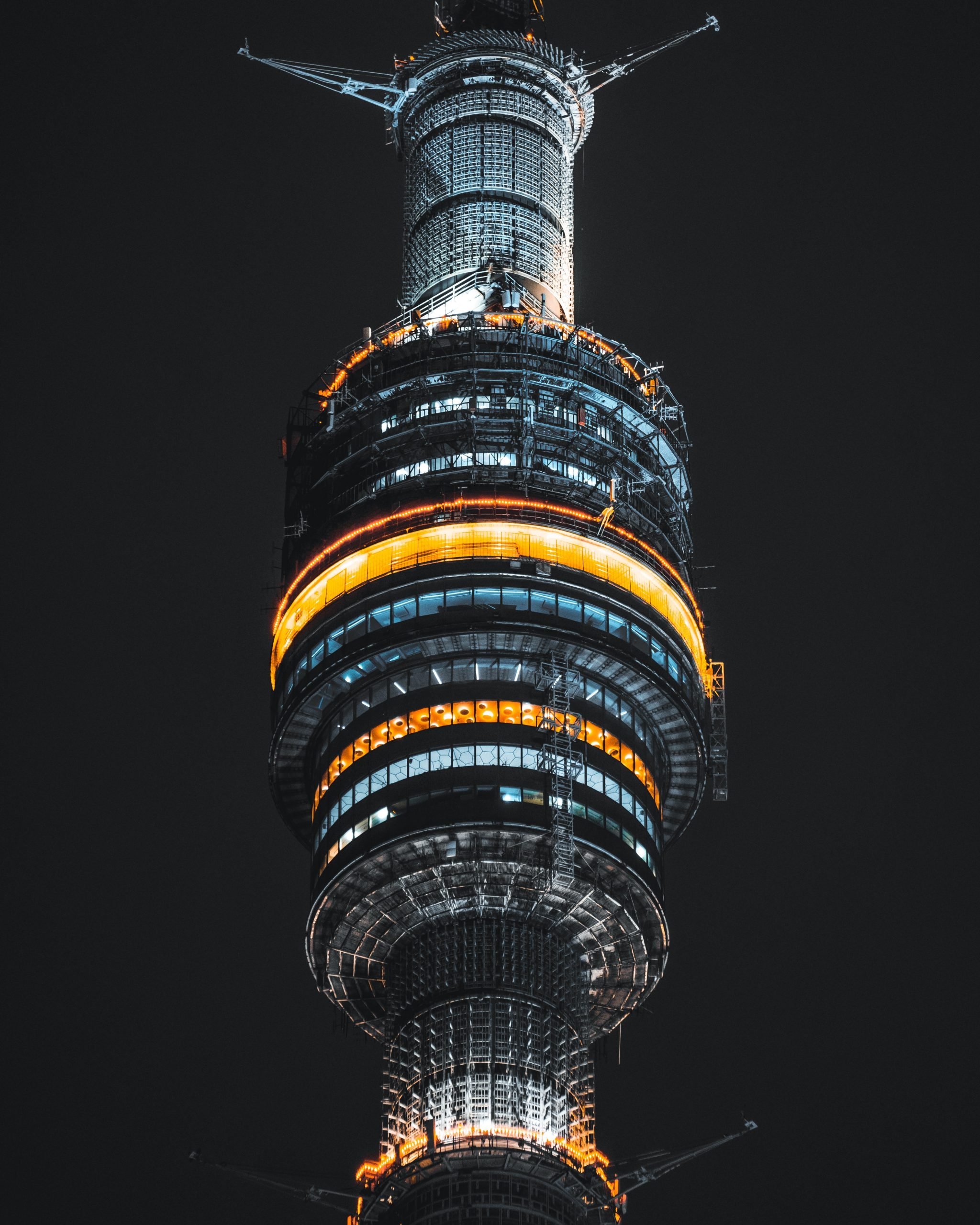 The Ostankino tower with the loghts in night