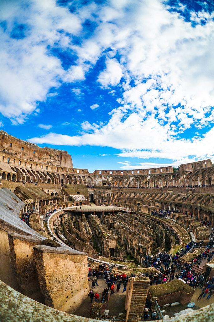 Top perspective inside the colosseum in Rome