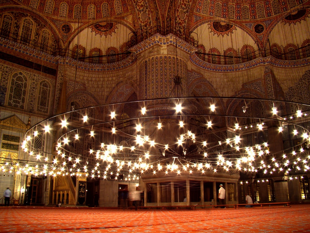 the blue mosque, chandelier, turkey mosque, mosque in istanbul