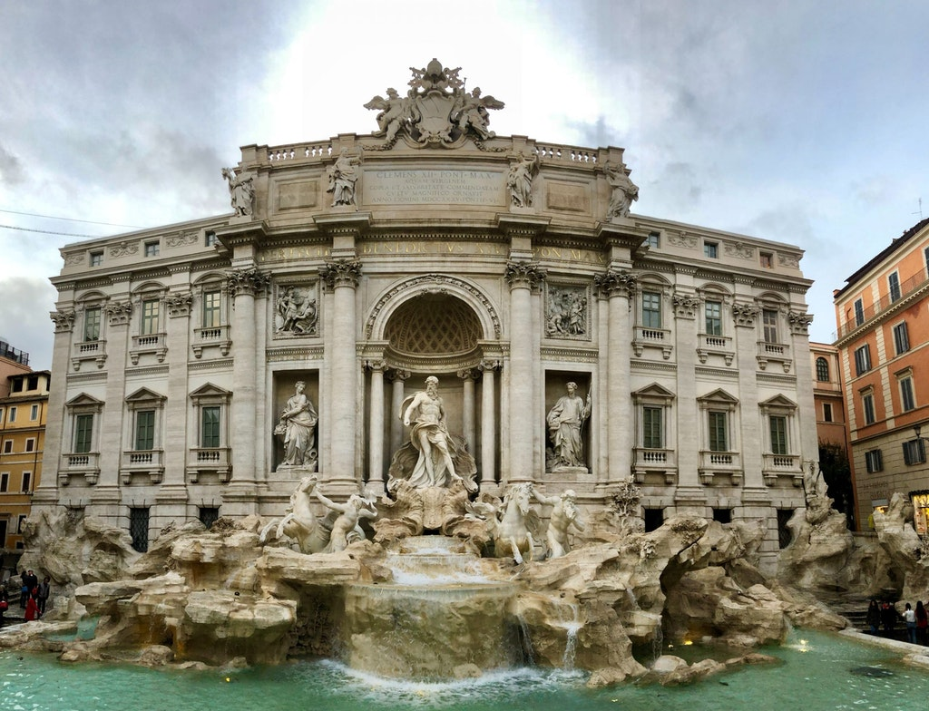 Front view of the Trevi Fountain in Rome