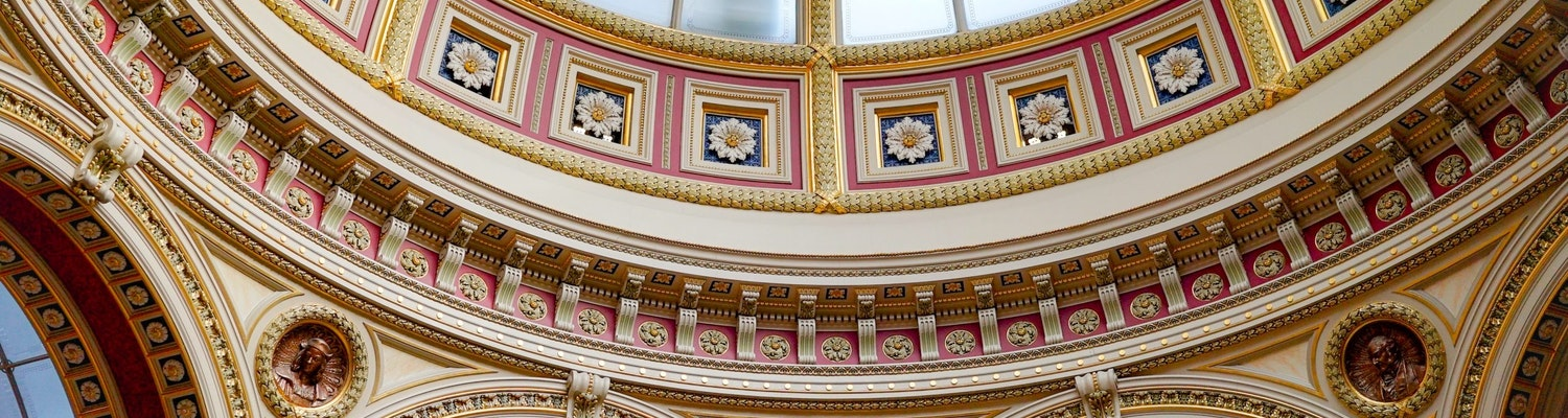 The ceiling inside the National Gallery in London