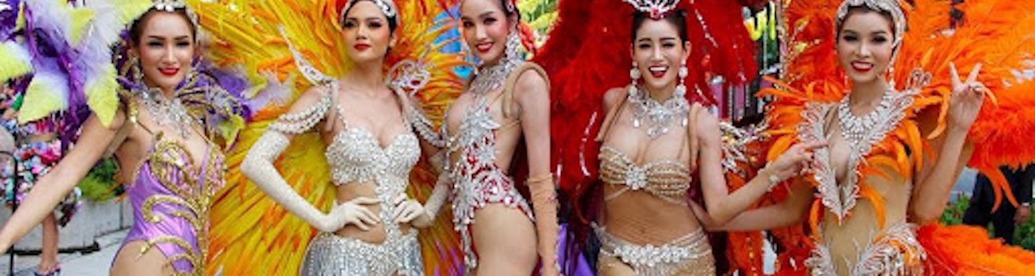 Stunningly dressed dancers at the carbaret show in Phuket