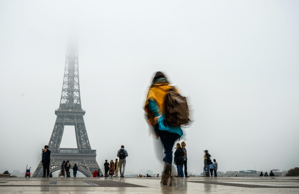Eiffel tower during a foggy morning in Paris