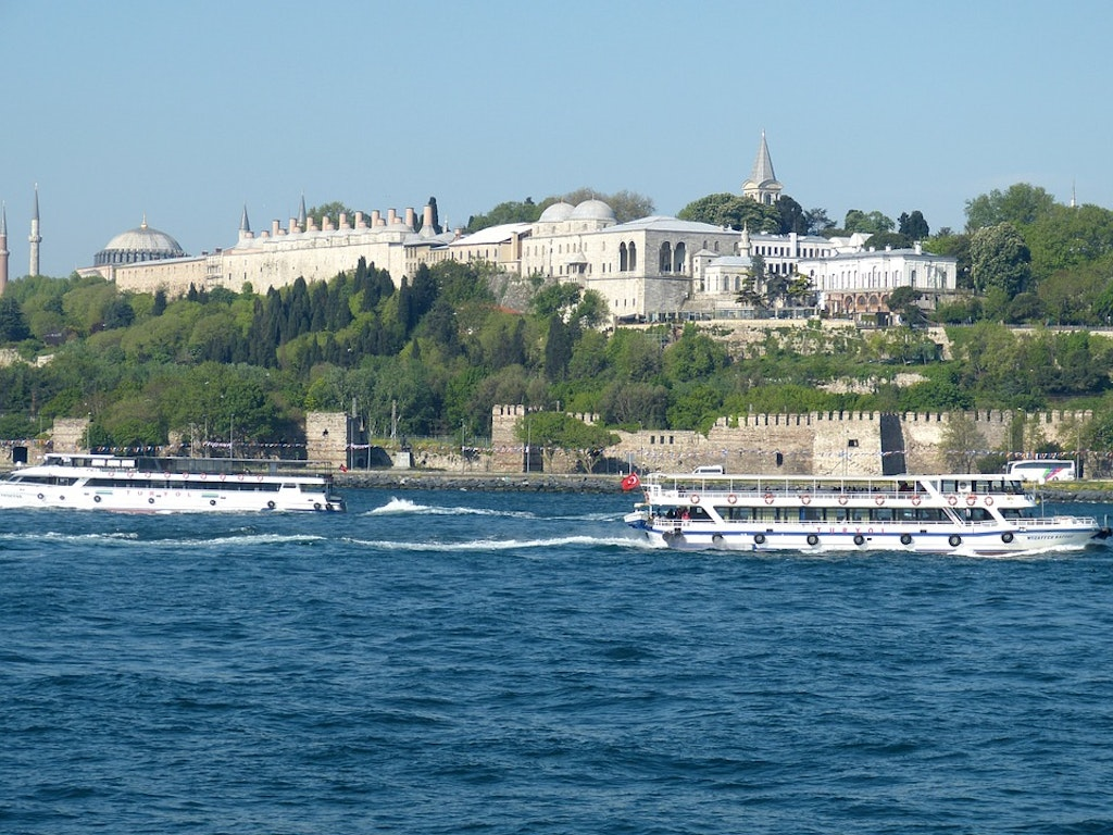 View of Topkapi Palace over the river