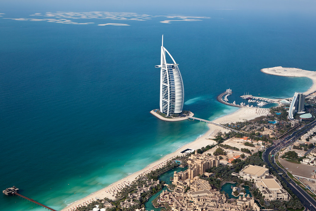 Helicopter view of Dubai