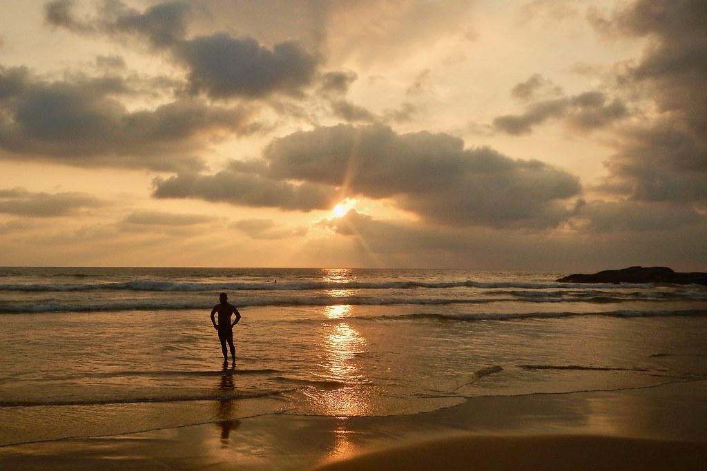 An breathtaking view of sunset at Bentota beach in Sri Lanka