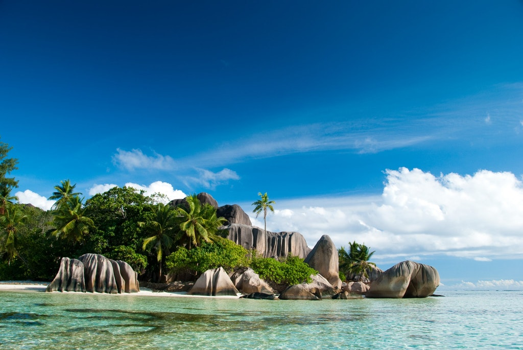Rock beach view in Anse Source d'Argent