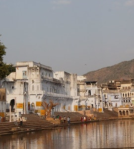 A few of the 52 ghats around Pushkar lake