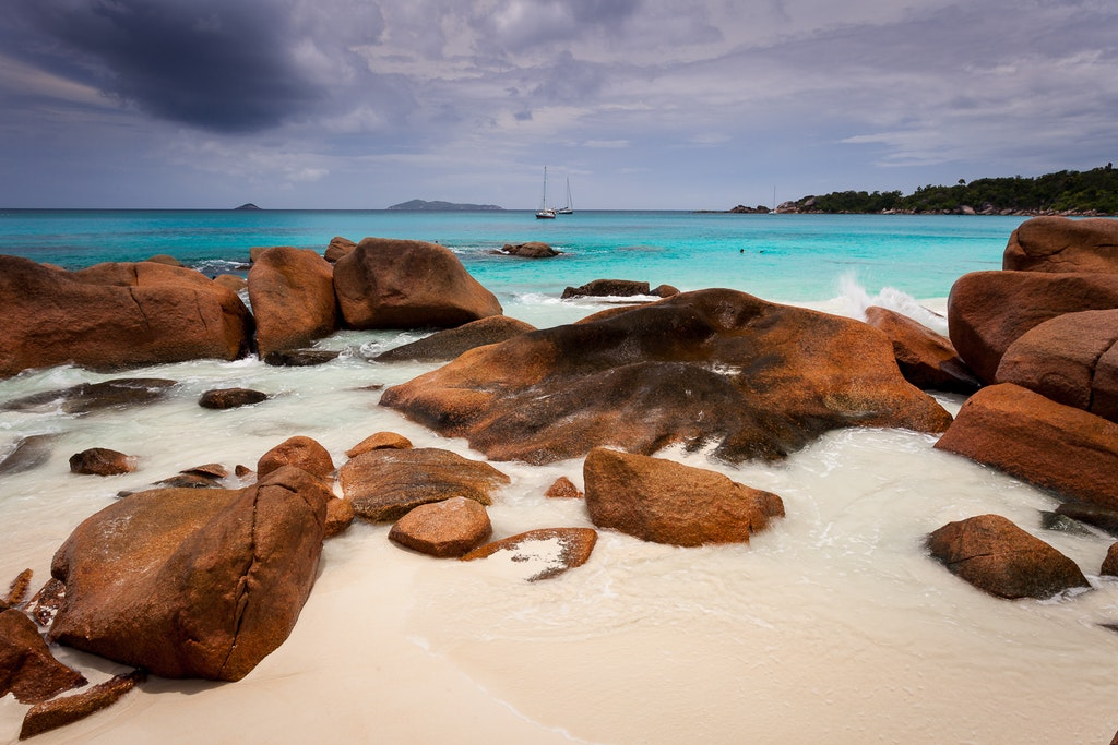 The boulders at the Anse Lazio Beach