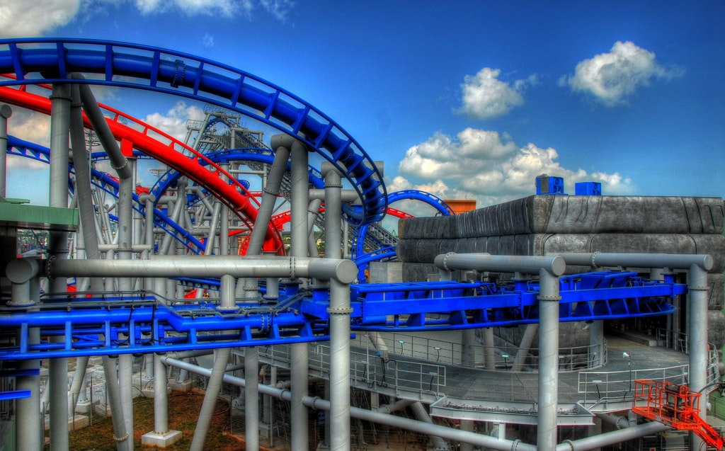 thrilling duel rollercoasters at universal studios, Singapore