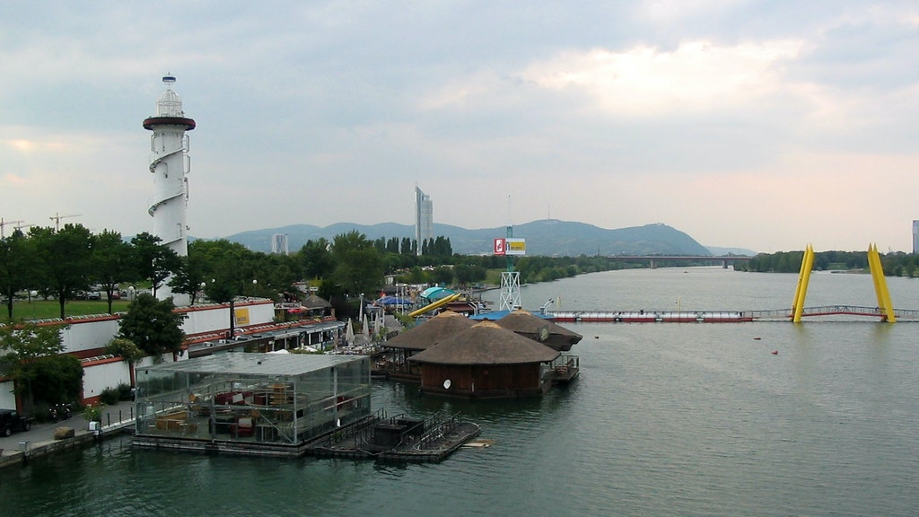 The Donaustadt beach in the city of Vienna