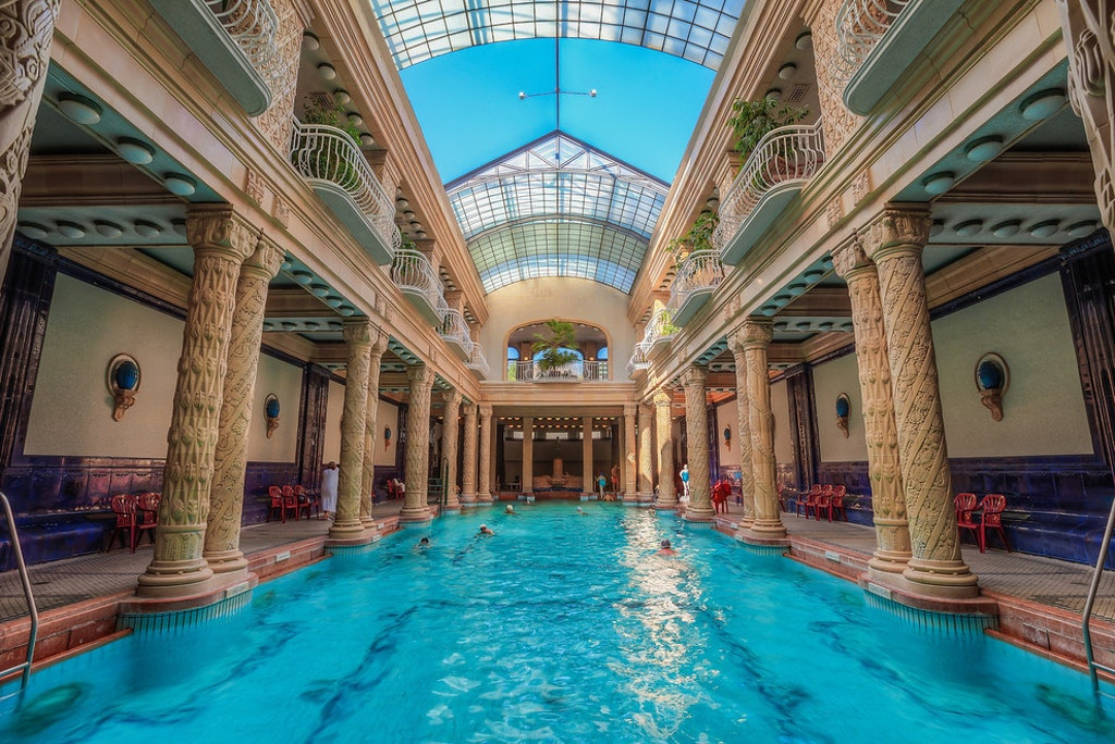 One of the swimming pools in Gellert Bath and Spa in Budapest, Hungary
