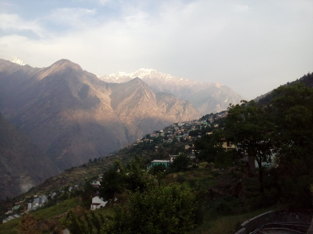 View of Joshimath town in the backdrop of mighty peaks