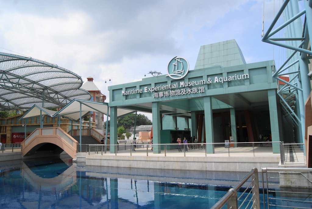 Front view of the maritime experiential museum in Sentosa