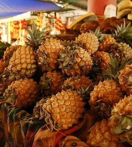 A set of pineapples at Mauritian streets