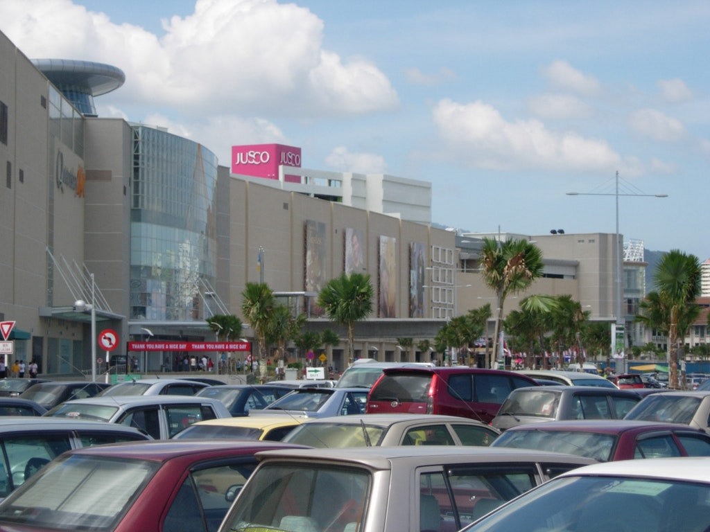 View of Queensbay mall in Penang from the parking lot