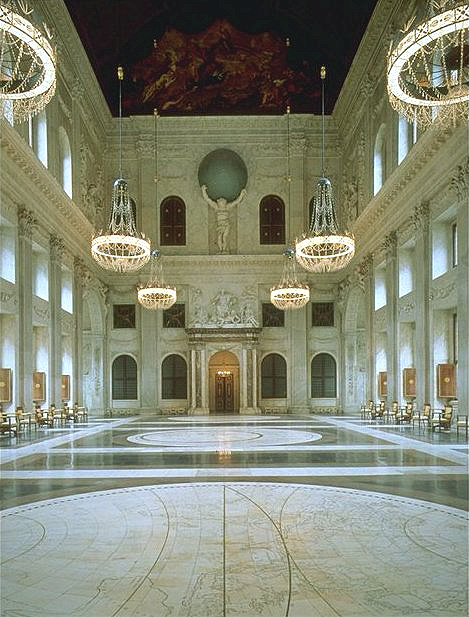 Citizen hall interiors in Royal Palace in Amsterdam